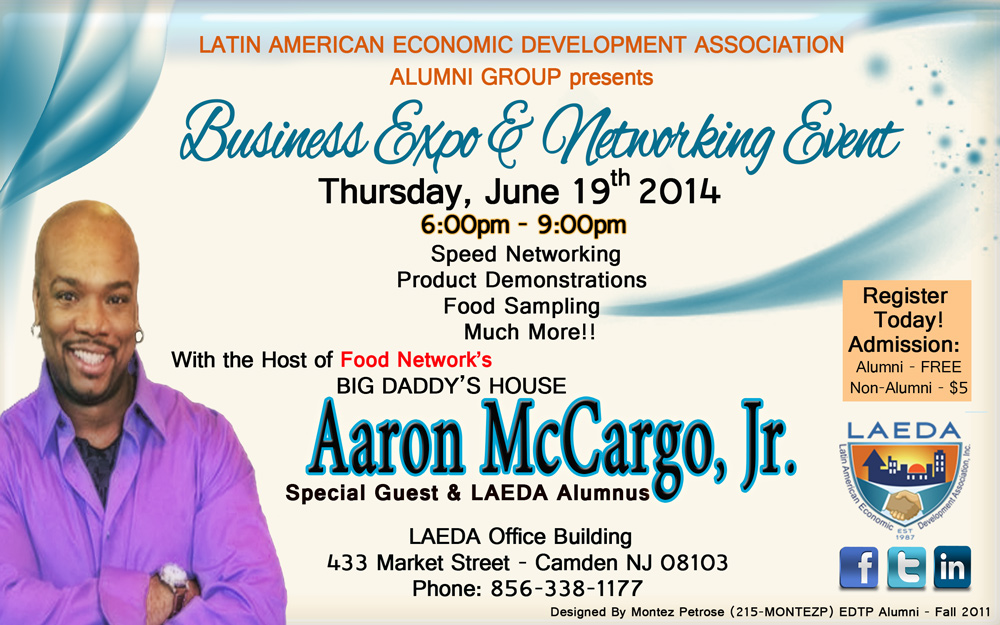 "Chef Aaron McCargo, Jr. from Food Network to Address Entrepreneurs  at LAEDA's ""Business & Networking Expo"""